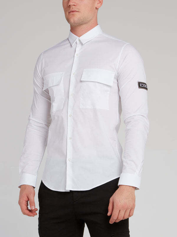 White Rear Logo Cargo Shirt