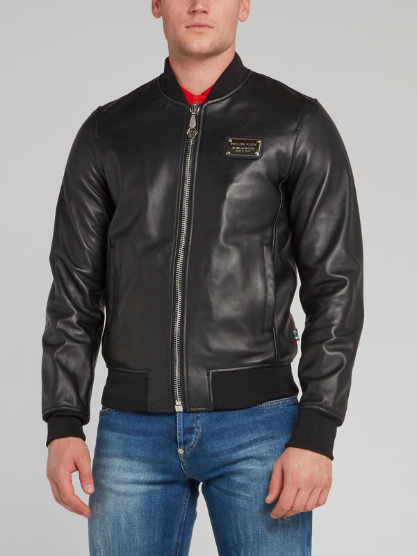 Rear Logo Embroidered Leather Bomber Jacket