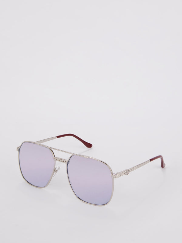 Purple Mirror Square Sunglasses
