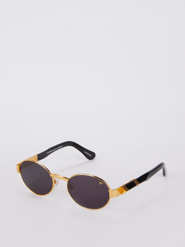 The Biz Masterpiece 24KT Gold Signature Edition Black Solid Flat Sunglasses