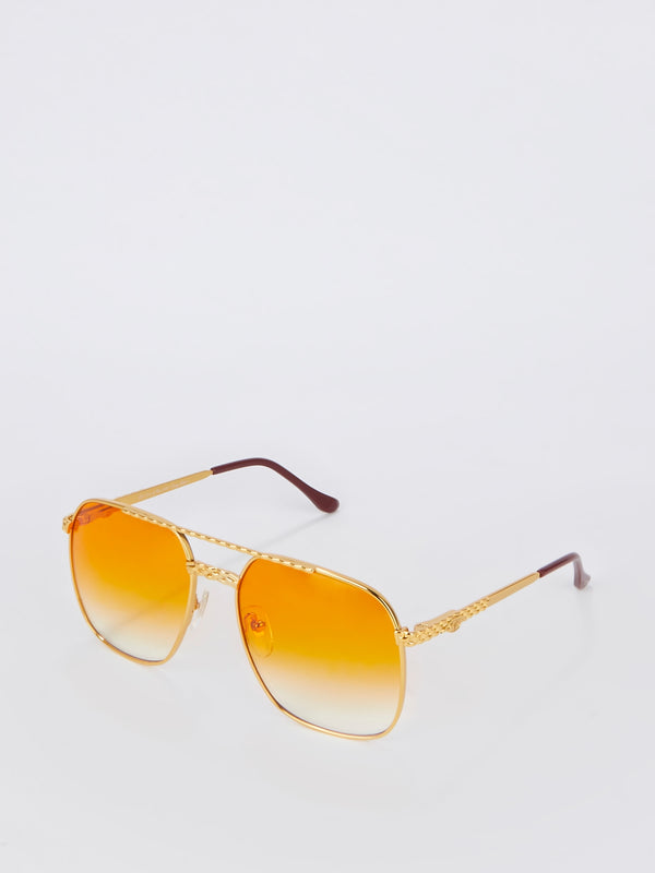 Orange Gradient Aviator Sunglasses