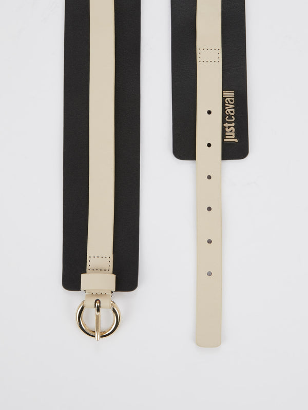 Beige Overlay Black Leather Belt