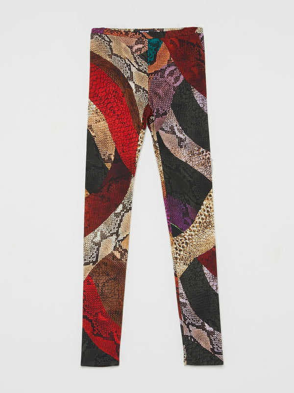 Red Colour Block Snake Print Trousers