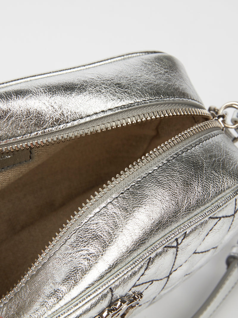 Silver Quilt Nappa Shoulder Bag