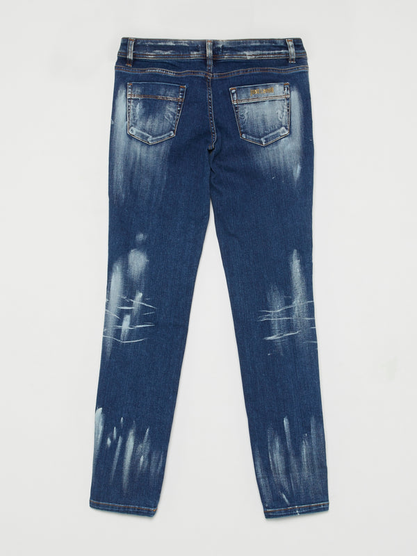 Multi-Stud Splatter Paint Jeans