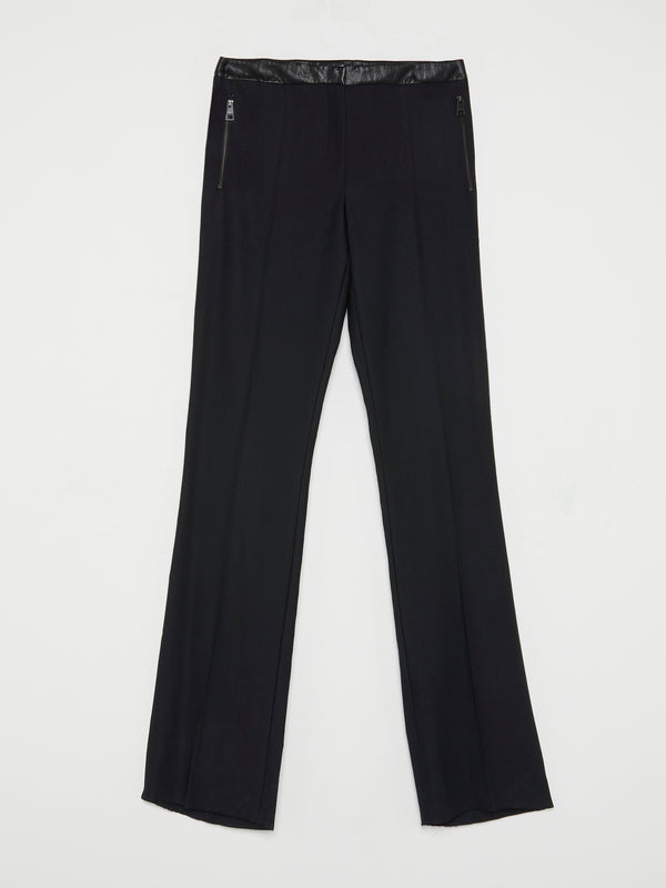 Black Leather Waistband Trousers