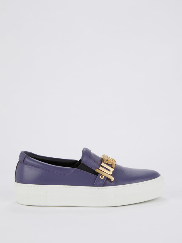 Indigo Slip On Logo Sneakers