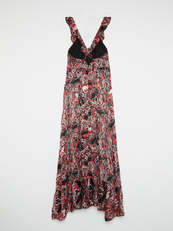 Red Baroque Pleated Maxi Dress