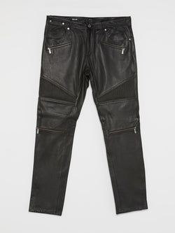 Black Leather Biker Trousers