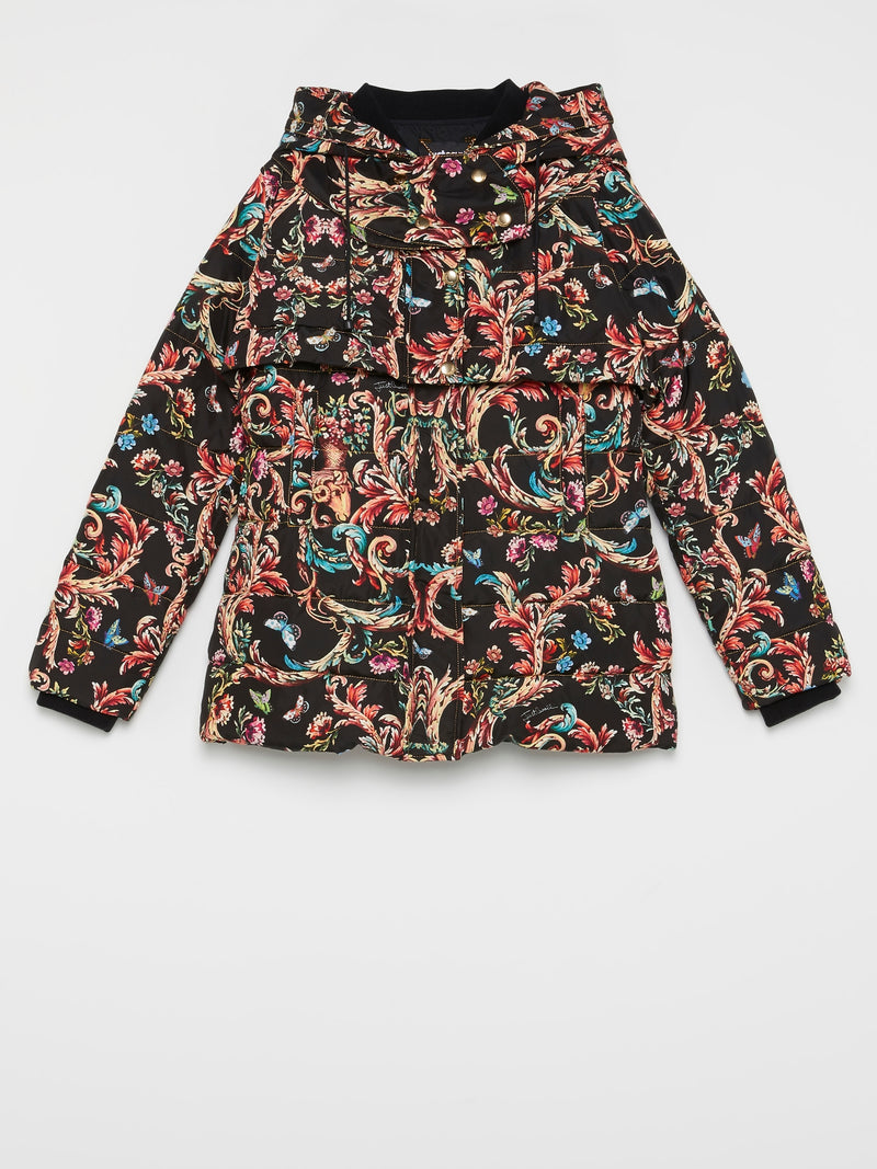 Baroque Print Puffer Jacket