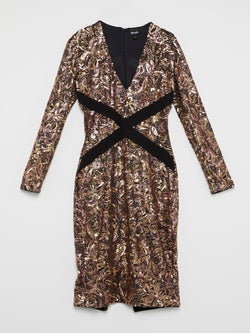 Gold Baroque Sequin Plunge Dress