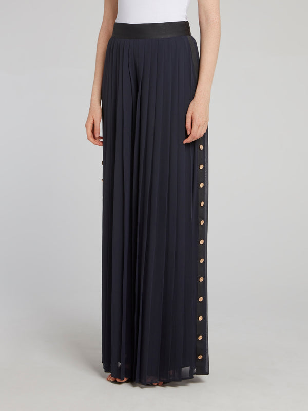 Navy Pleated Palazzo Pants