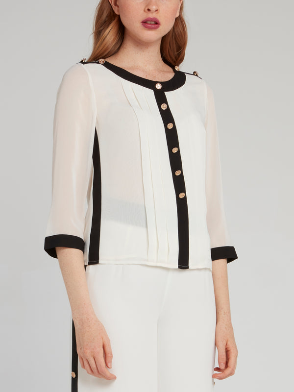 White Rear Ribbon Pleated Blouse