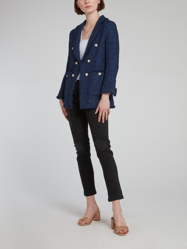 Navy Frayed Tweed Blazer
