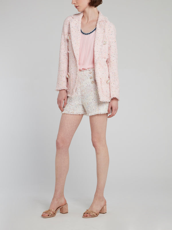 Pink Frayed Tweed Blazer