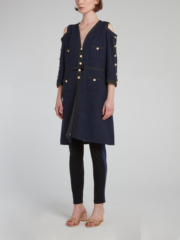 Navy Cold Shoulder Long Coat