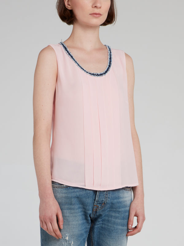 Pink Pleated Sleeveless Top