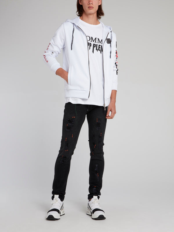 White Dollar Skull Sweat Jacket