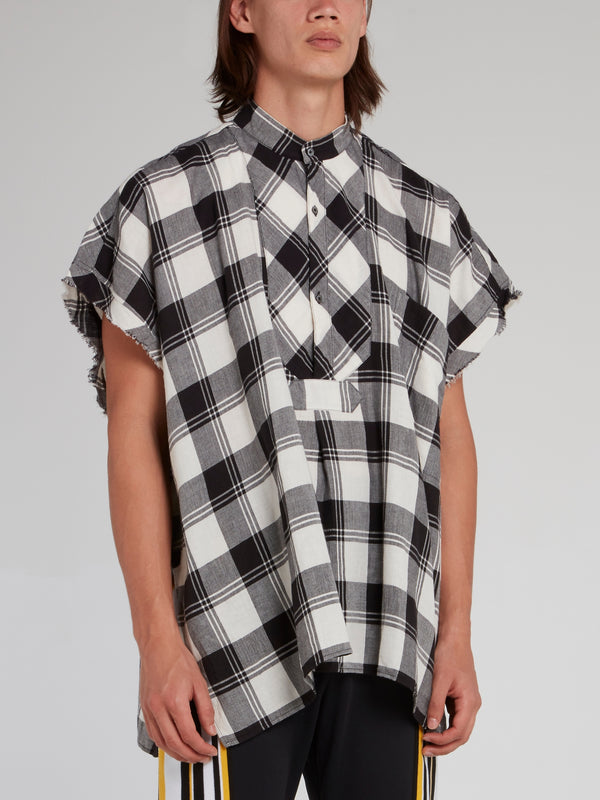 Check Cut-Off Frayed Sleeve Shirt