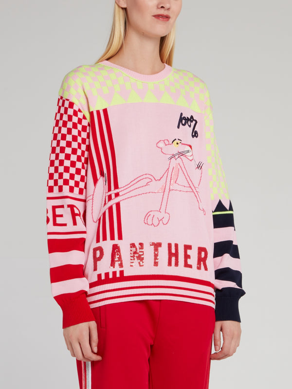 Pink Panther Sequin Check Sweater