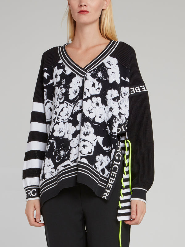 Black Floral Knitted Sweater