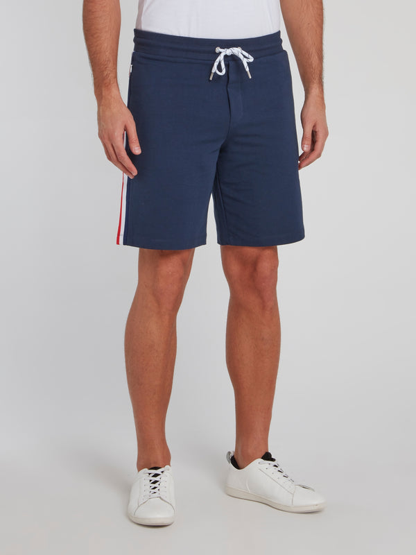 Navy Side Stripe Cotton Shorts
