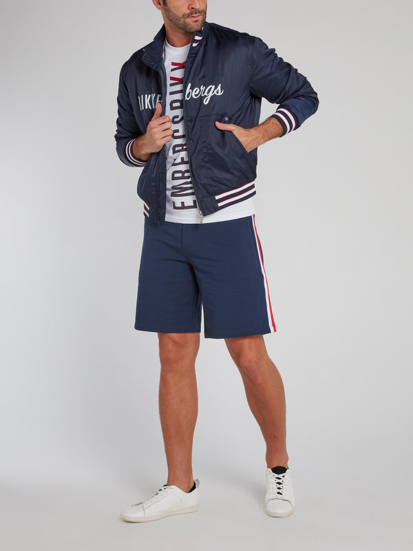 Navy Stripe Edge Logo Jacket