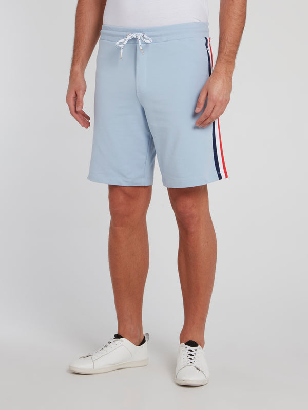 Blue Side Stripe Cotton Shorts