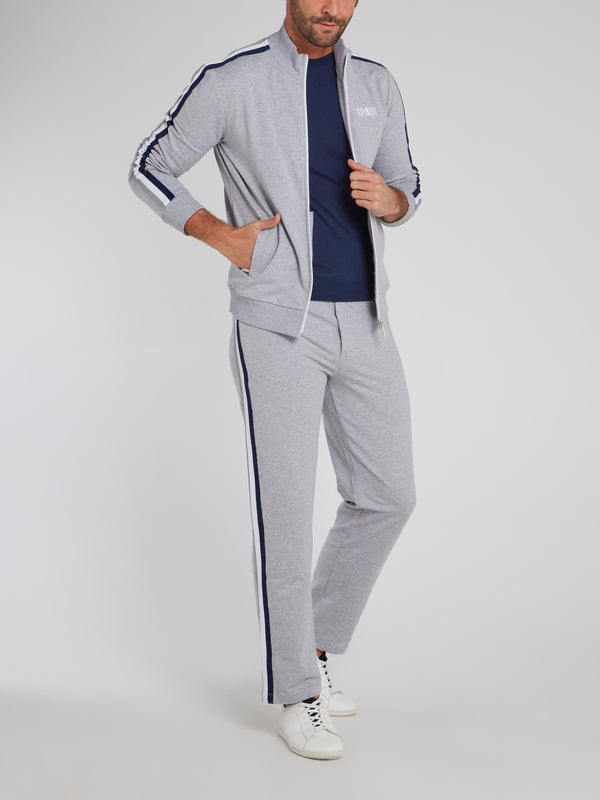 Grey Side Stripe Active Fleece Pants
