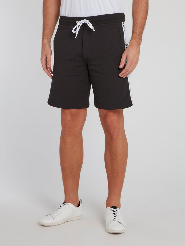 Black Logo Tape Drawstring Shorts