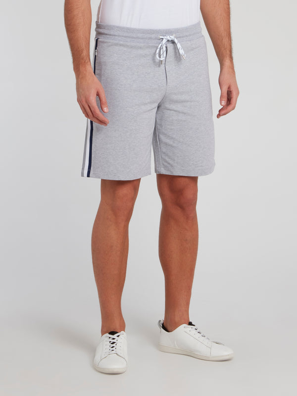 Grey Side Stripe Cotton Shorts