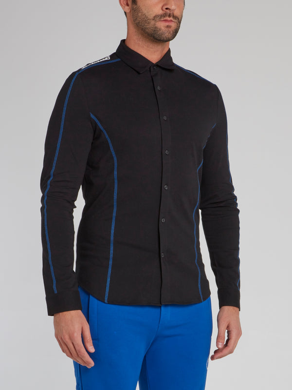 Black with Blue Lining Button Up Shirt
