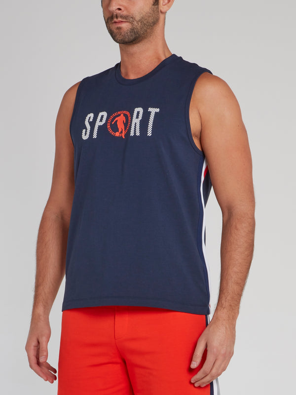 Navy Sport Logo Tank Top