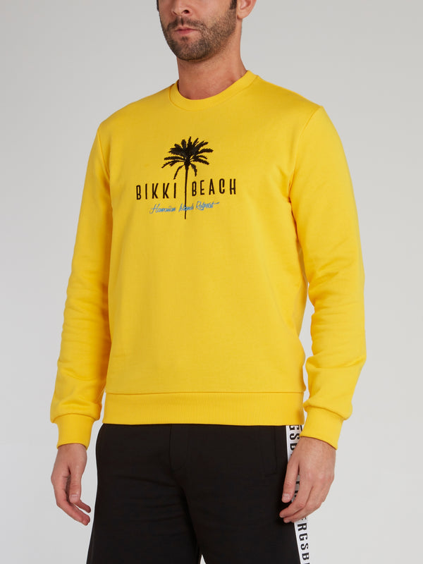 Yellow Embroidered Statement Sweatshirt