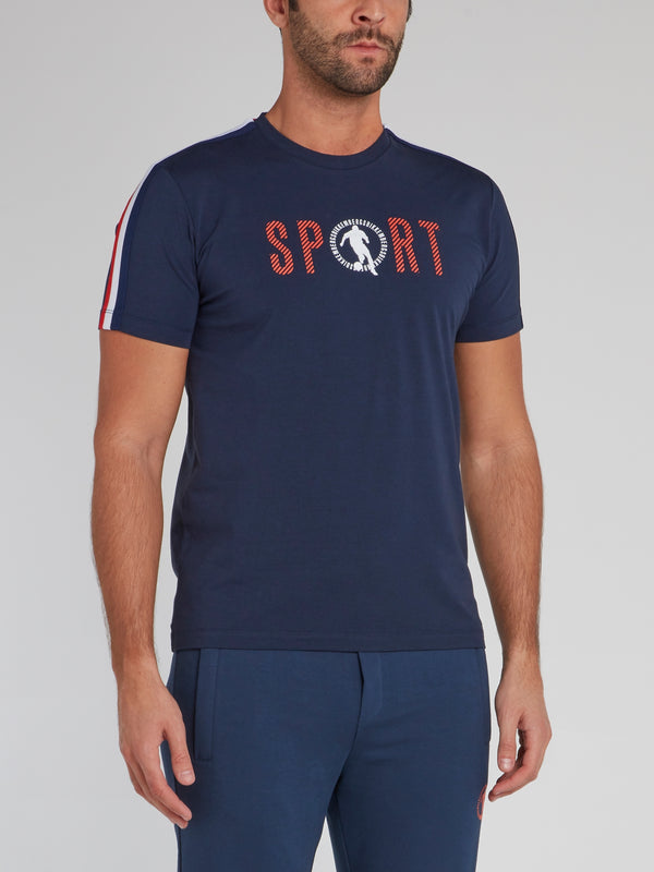 Navy Sport Logo Shoulder Stripe T-Shirt