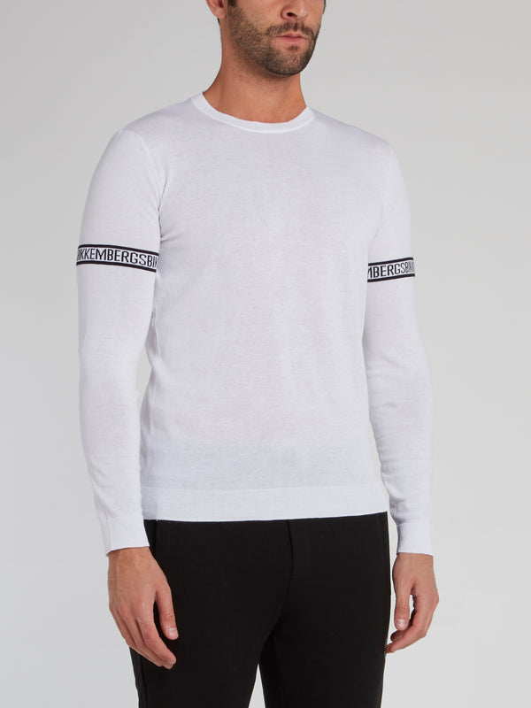 White Logo Tape Knitted Sweatshirt