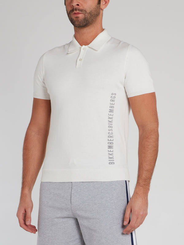 White Logo  Knitted Polo Shirt
