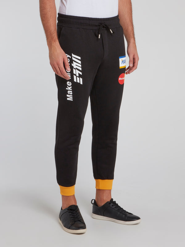 Black Statement Cuff Track Pants