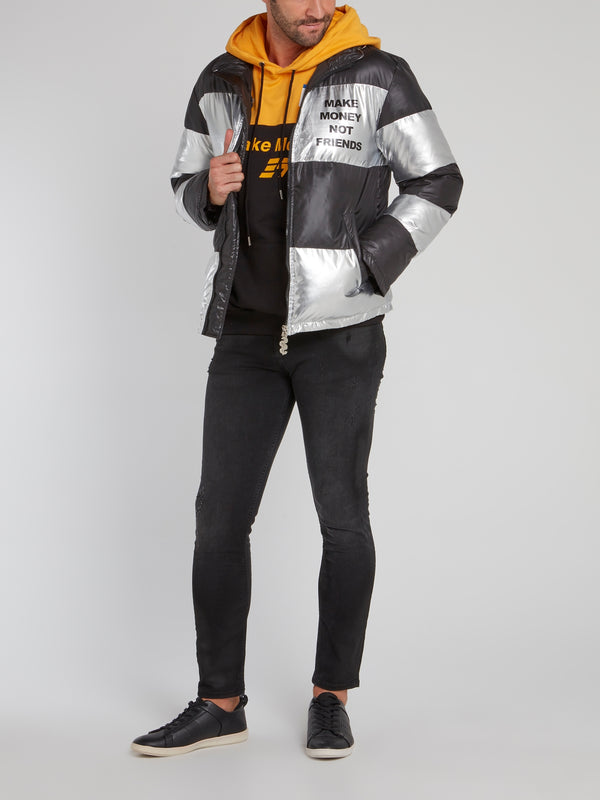 Metallic Striped Logo Puffer Jacket