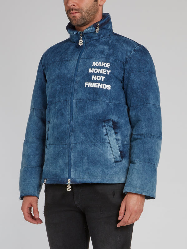 Blue Denim Puffer Jacket