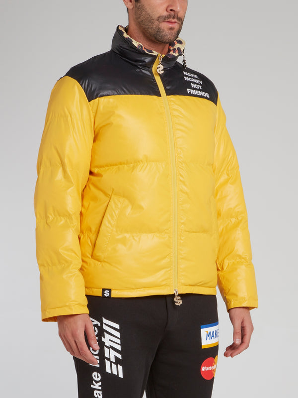 Yellow Rear Logo Yoke Puffer Jacket