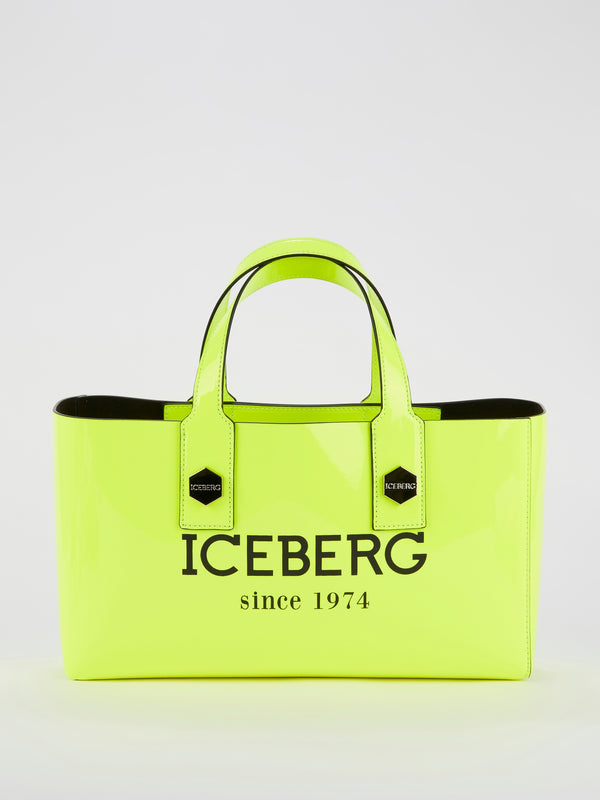 Neon Patent Leather Logo Handbag
