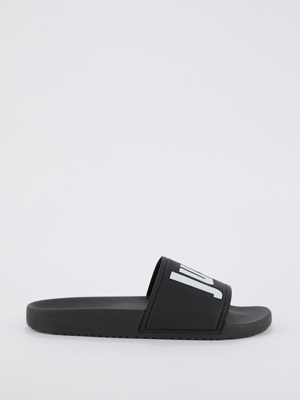 Black Logo Strap Top Slippers