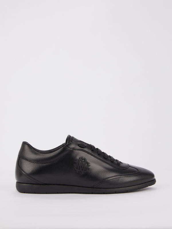 Black Monogram Low Top Leather Sneakers