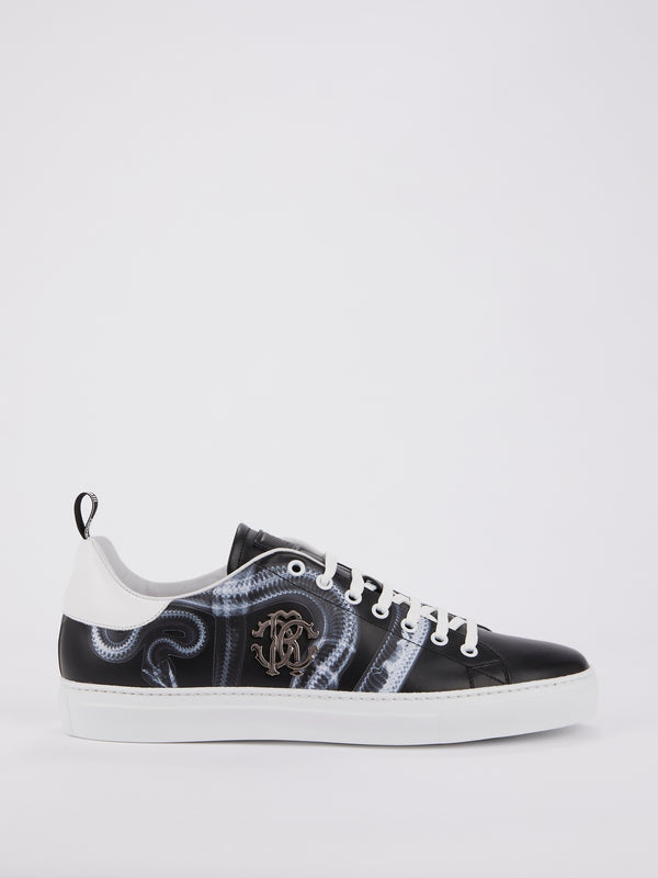 Black Snake Print Leather Sneakers