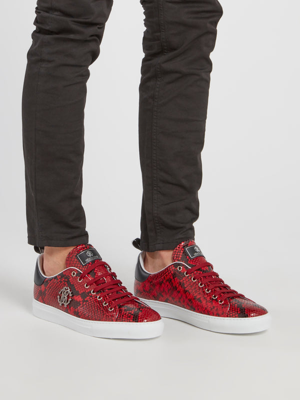 Red Python Effect Monogram Sneakers