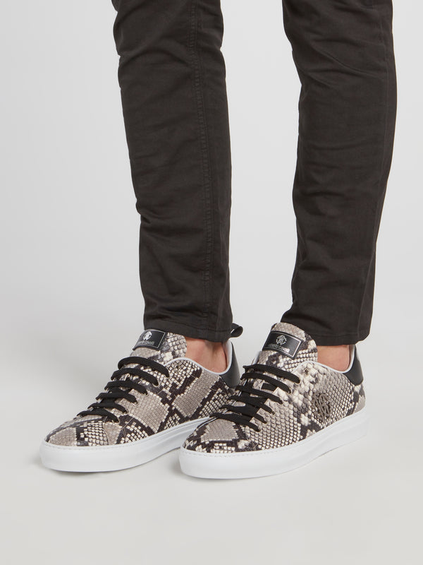 Grey Python Effect Sneakers