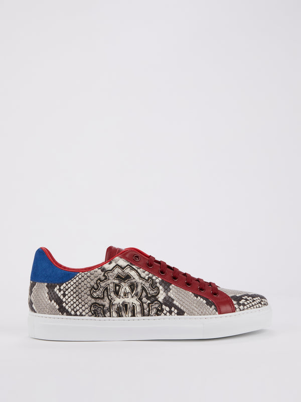 Colour Block Python Effect Sneakers