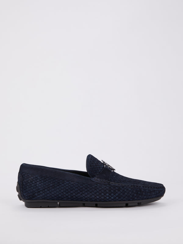 Navy Monogram Weave Loafers