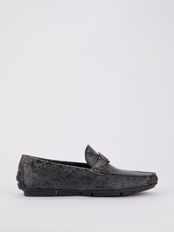 Python Effect Perforated Loafers